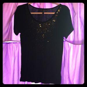 Short sleeve silky black dressy top